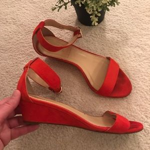 J. Crew ankle-wrap suede mini wedges
